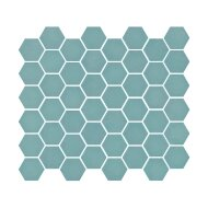 Mozaïek Valencia 27.8x32.5 cm Recycled Glas, Hexagon Mat Turquoise (Prijs Per 1.00 m2)
