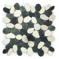 Mozaiek Mat Pebble Sliced Tumb Honed S Mix Black And White Sea Stone 30x30 cm (Prijs per 1m²)