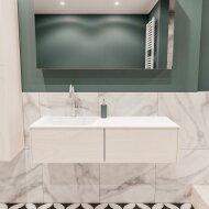 Badkamermeubel BWS Madrid Wit 120x45x30 cm Mat Witte Solid Surface Wastafel Links (2 lades, 1 kraangat)