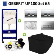 Geberit UP100 Mat Zwarte Toiletset set65 Mudo Randloos