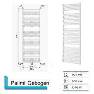 Designradiator Boss & Wessing Palimi Gebogen 1775 x 600 mm