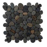 Mozaiek Mat Pebble Regular S Greeny Swarthy Black Sea Stone 30x30 cm (Prijs per 1m²)