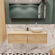 Badkamermeubel BWS Madrid Washed Oak 120 cm met Massief Topblad en Keramische Waskom Rechts (2 lades, 1 kraangat)