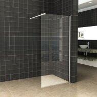 BWS Inloopdouche Pro Line Helder Glas 50x200 Mat Wit Profiel en Stabilisatiestang