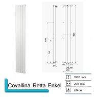 Handdoekradiator Covallina Retta Enkel 1800 x 298 mm Pergamon