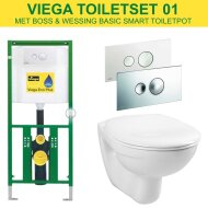 Viega EcoPlus toiletset 01 B&W Basic Smart met Visign for Style 10 drukplaat