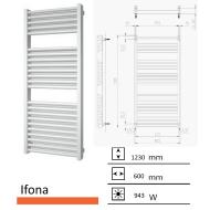 Badkamerradiator Ifona 1230 x 600 mm Donker grijs structuur