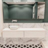 Badkamermeubel BWS Madrid Wit 180 cm met Massief Topblad en Keramische Waskom Links (2 lades, 0 kraangaten)