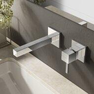 Wastafelmengkraan Hotbath Bloke inbouw 3+3 inbouwsysteem 1-hendel Uitloop Recht 17 cm Chroom