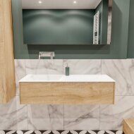 Badkamermeubel BWS Madrid Washed Oak 120x45x30 cm Mat Witte Solid Surface Wastafel Links (0 kraangaten)