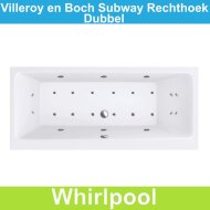 Ligbad Villeroy & Boch Subway 170x75 cm Balboa Whirlpool systeem Dubbel | Tegeldepot.nl