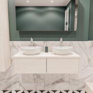 Badkamermeubel BWS Madrid Wit 120 cm met Massief Topblad en Keramische Waskom Dubbel (2 lades, 2 kraangaten)
