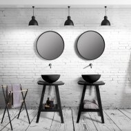 Badkamermeubelset Cipi Zen Consolle 60 cm Hout Zwart (inclusief spiegel en opbouw waskom)