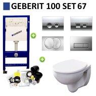 Geberit UP100 Toiletset set67 Geberit Econ Compact Rimfree met Delta drukplaten