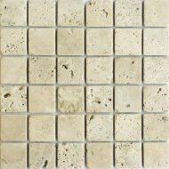 Mozaiek tegels Classic travertin / Apulia ivory (beige) anticato 4,8x4,8x1cm (prijs per matje 30x30cm)