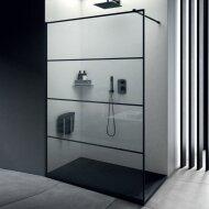 Inloopdouche Lacus Tremiti Wall 140x200 cm Helder Glas Stabilisatiestang Zwart