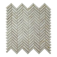 Mozaiek Parquet 1x4.8 30x30 cm Marmer Cream Visgraat