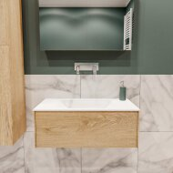 Badkamermeubel BWS Madrid Washed Oak 80x45x30 cm Mat Witte Solid Surface Wastafel (0 kraangaten)
