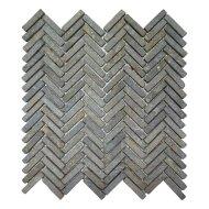 Mozaiek Parquet 1x4.8 30x30 cm Marmer Light Grey Visgraat (doosinhoud 1 m2)
