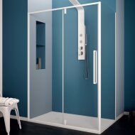 Douchecabine Lacus Murano Klapdeur 100x200 cm 6 mm Met Zijwand Helder Glas Wit