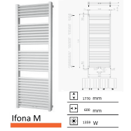 Badkamerradiator Ifona M 1770 x 600 mm Antraciet metallic