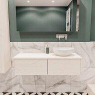 Badkamermeubel BWS Madrid Wit 120 cm met Massief Topblad en Keramische Waskom Rechts (2 lades, 0 kraangaten)