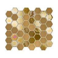 Mozaïek Valencia 27.8x32.5 cm Recycled Glas, Hexagon Mat En Glanzend Mosterd Geel (Prijs Per 1.00 m2)