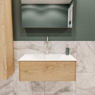 Badkamermeubel BWS Madrid Washed Oak 80x45x30 cm Mat Witte Solid Surface Wastafel (1 kraangat)