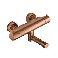 Badthermostaat Hotbath Cobber Opbouw Wegdraaibare Omstel 2-knop Geborsteld Koper