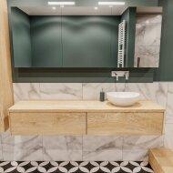 Badkamermeubel BWS Madrid Washed Oak 180 cm met Massief Topblad en Keramische Waskom Rechts (2 lades, 0 kraangaten)