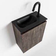 MONDIAZ TURE 40cm toiletmeubel dark brown. EDEN wastafel urban links 1 kraangat