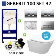 Geberit UP100 Toiletset set31 Sanilux Easy Flush Rimfree 48cm compact met Delta drukplaat