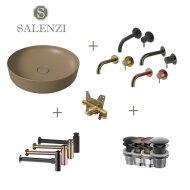 Salenzi Waskomset Form 45x12 cm Mat Taupe (Keuze Uit 4 Kleuren Kranen)