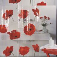 Douchegordijn Allibert Spirella Poppy rood 180x200cm