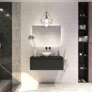 Badkamermeubelset Gliss Eros 90 cm Mat Zwart Met Waskom