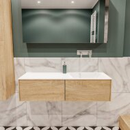 Badkamermeubel BWS Madrid Washed Oak 120x45x30 cm Mat Witte Solid Surface Wastafel Rechts (2 lades, 0 kraangaten)