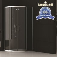 Douchecabine Sanilux Noémie kwartrond met 2 schuifdeuren 90x90cm 6mm