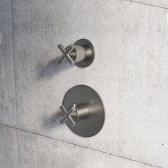 Douchethermostaat Hotbath Chap Inbouw 1 Stopkraan Kruisgreep Geborsteld Nikkel (excl. inbouwdeel)