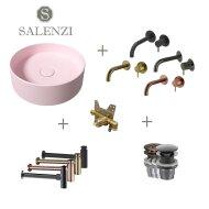 Salenzi Waskomset Hide Circle 40x12 cm Mat Roze (Keuze Uit 4 Kleuren Kranen)