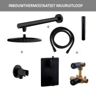 Thermostatisch Inbouwdoucheset BWS Muuruitloop Rond 20 cm Mat Zwart