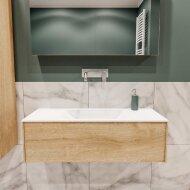 Badkamermeubel BWS Madrid Washed Oak 100x45x30 cm Mat Witte Solid Surface Wastafel (0 kraangaten)