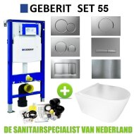 Geberit UP320 Toiletset set55 BWS Plana Rimless Mat Wit Met Sigma Drukplaat