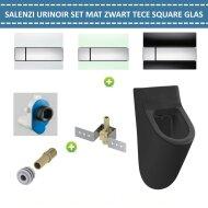 Urinoir Set Salenzi Hung Achterinlaat Mat Zwart met TECE Square Drukplaat Glas