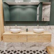 Badkamermeubel BWS Madrid Washed Oak 180 cm met Massief Topblad en Keramische Waskom Dubbel (2 lades, 2 kraangaten)