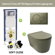 Geberit UP720 Toiletset Wandcloset Salenzi Civita Mat Legergroen met Sigma 01 Drukplaat