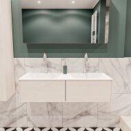 Badkamermeubel BWS Madrid Wit 120x45x30 cm Mat Witte Solid Surface Wastafel Dubbel (2 lades, 2 kraangaten)