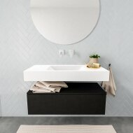 Badkamermeubel BWS Ibiza 100 cm Solid Surface Mat Zwart Wastafel Midden Zonder Kraangaten Mat Wit OUTLET