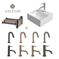 Salenzi Fonteinset Spy 30x30 cm Mat Wit (Keuze uit 8 kranen in 4 kleuren)