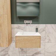 Badkamermeubel BWS Madrid Washed Oak 60x45x30 cm Mat Witte Solid Surface Wastafel (0 kraangaten)