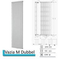 Designradiator Vazia M Dubbel 1970 x 532 mm Zwart grafiet (Black graphite)
